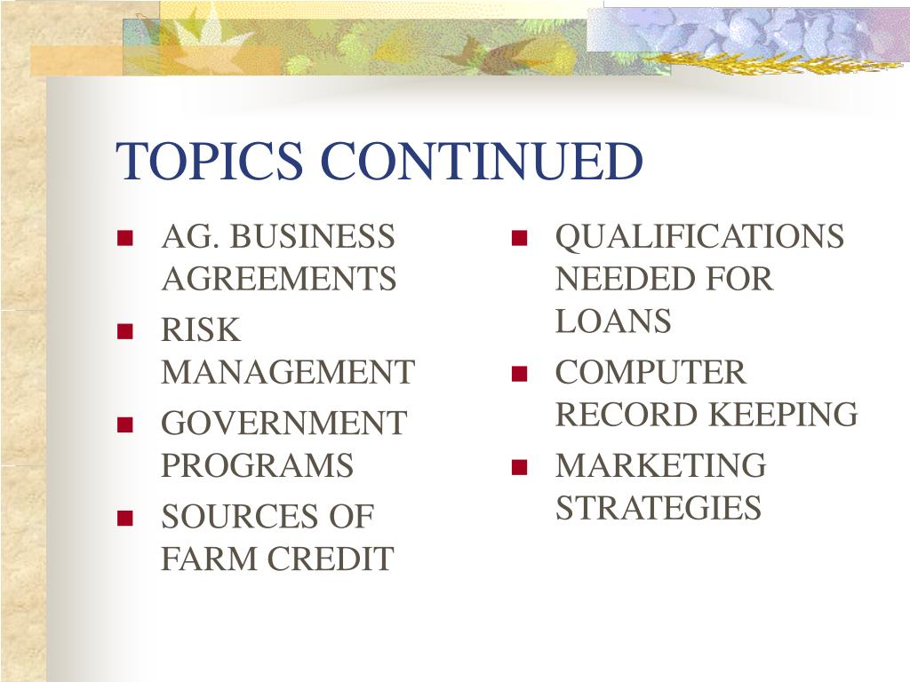 AG. BUSINESS AGREEMENTS