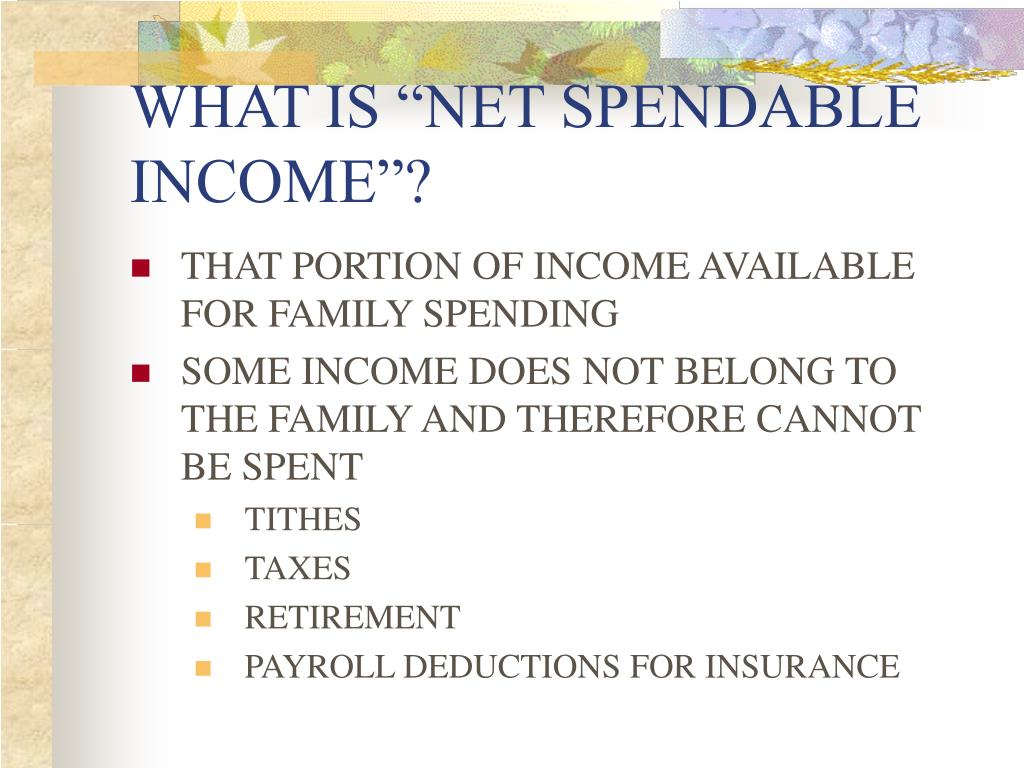 "WHAT IS ""NET SPENDABLE INCOME""?"