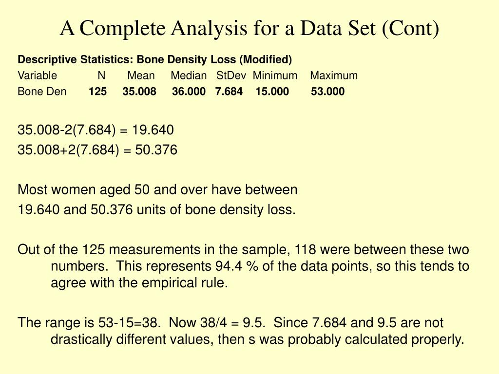A Complete Analysis for a Data Set (Cont)