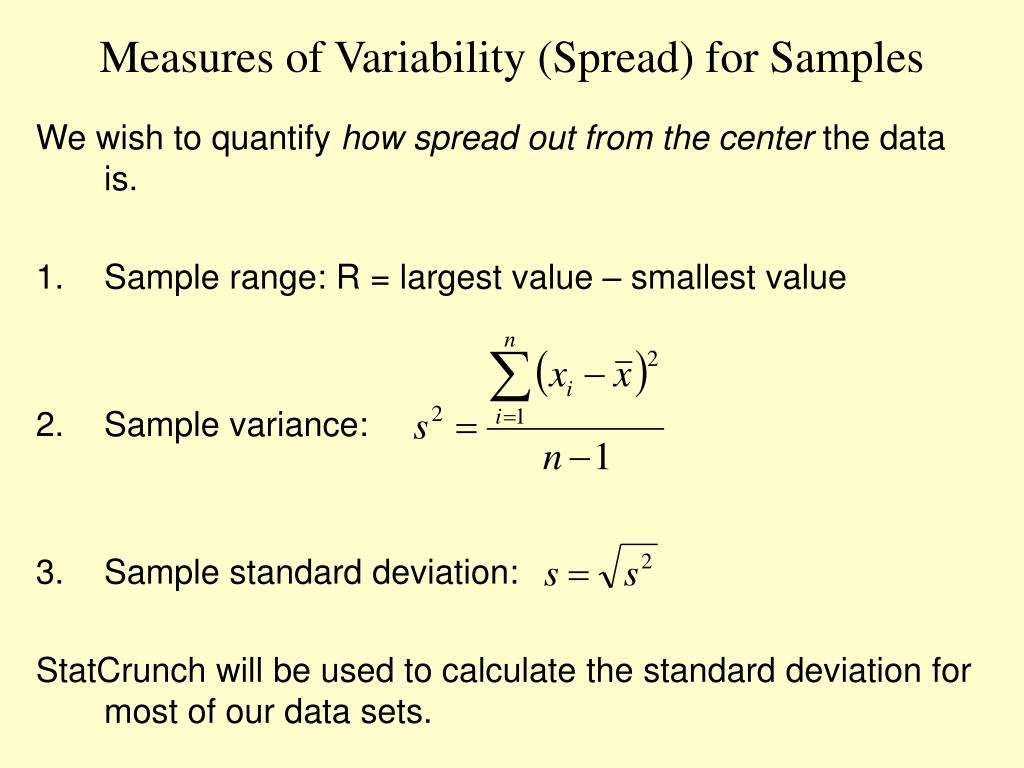 Measures of Variability (Spread) for Samples
