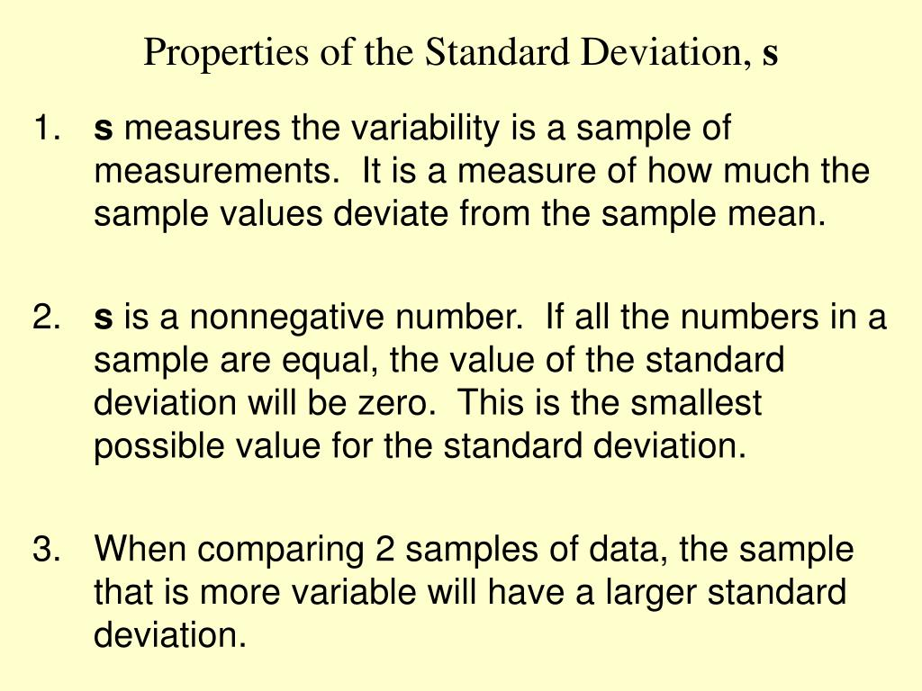 Properties of the Standard Deviation,