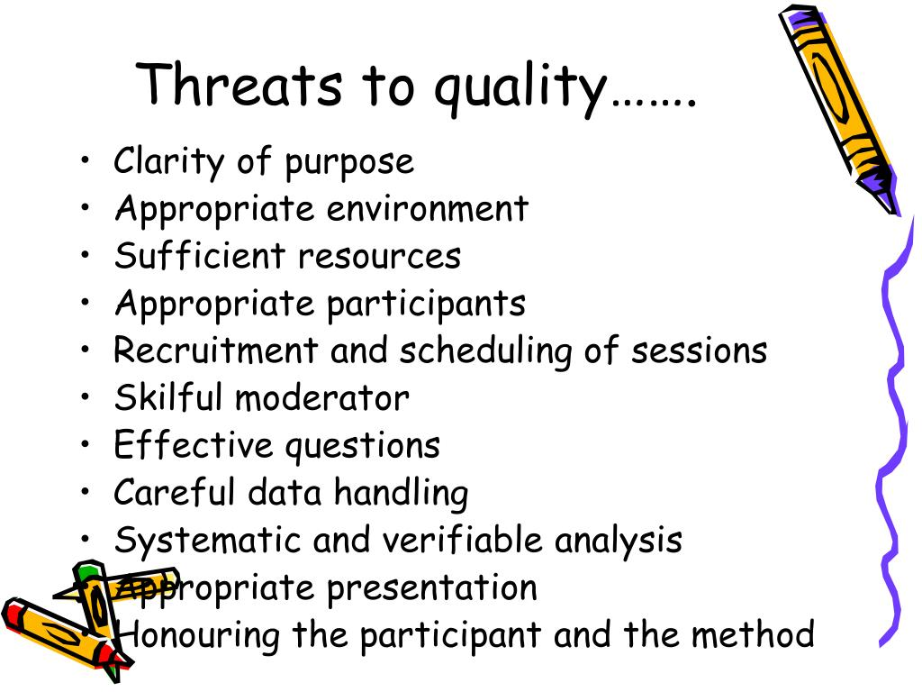 Threats to quality…….