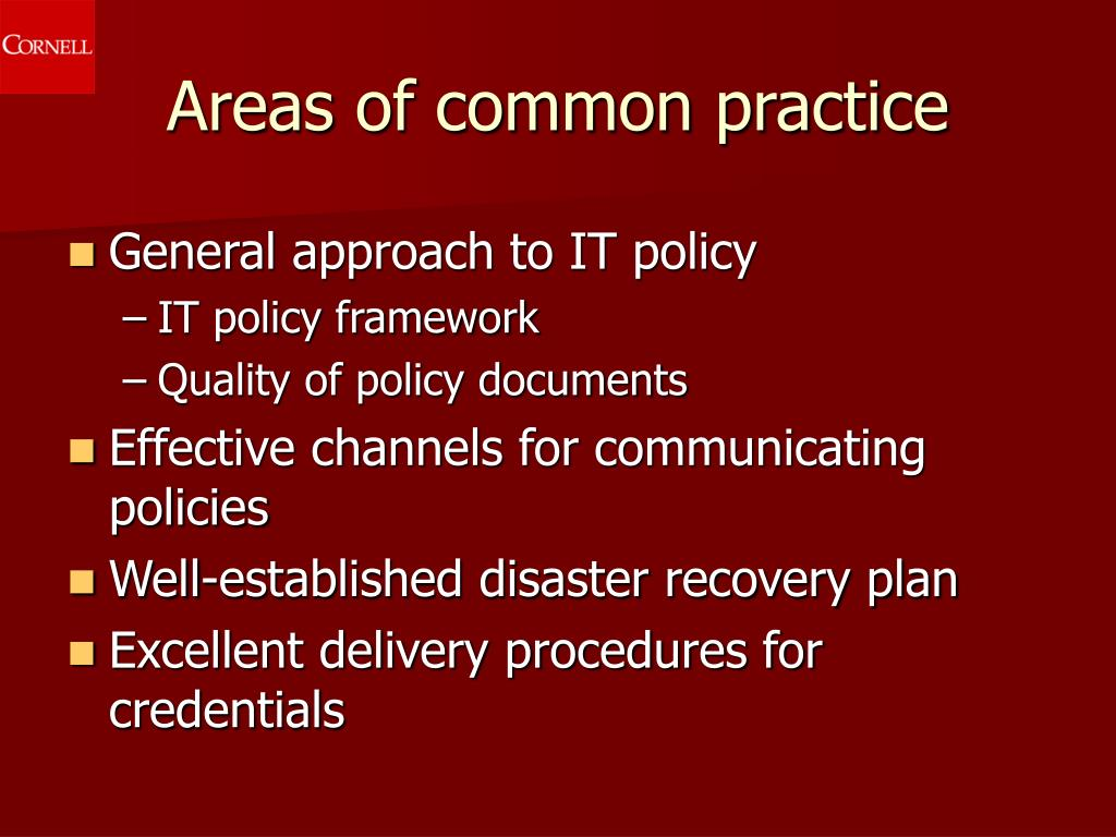 Areas of common practice