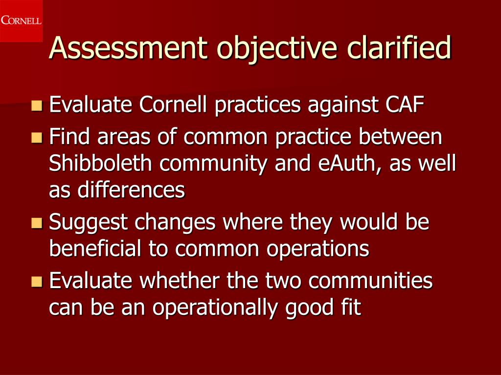 Assessment objective clarified