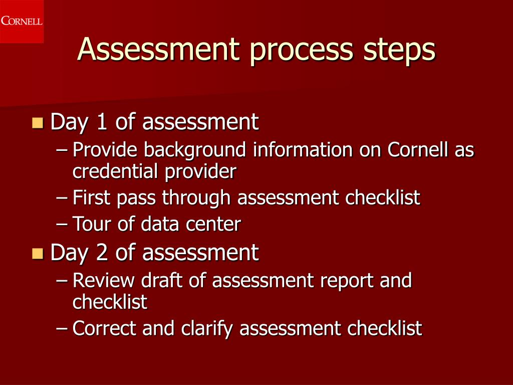 Assessment process steps