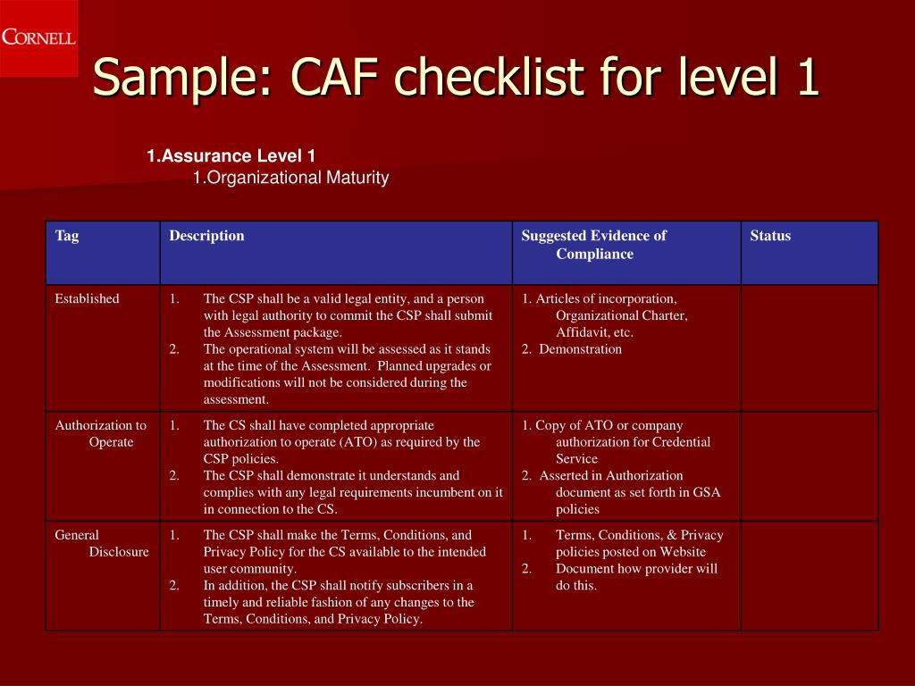 Sample: CAF checklist for level 1