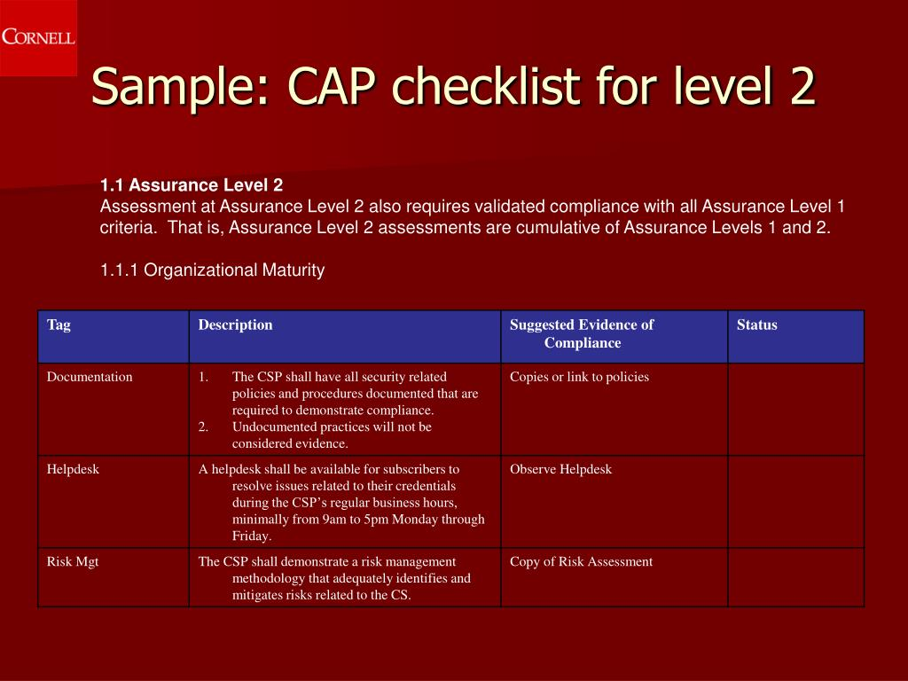 Sample: CAP checklist for level 2
