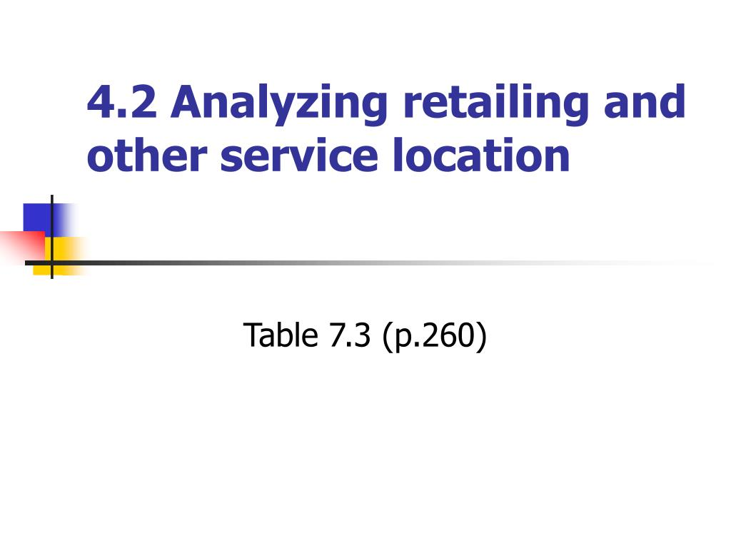 4.2 Analyzing retailing and other service location