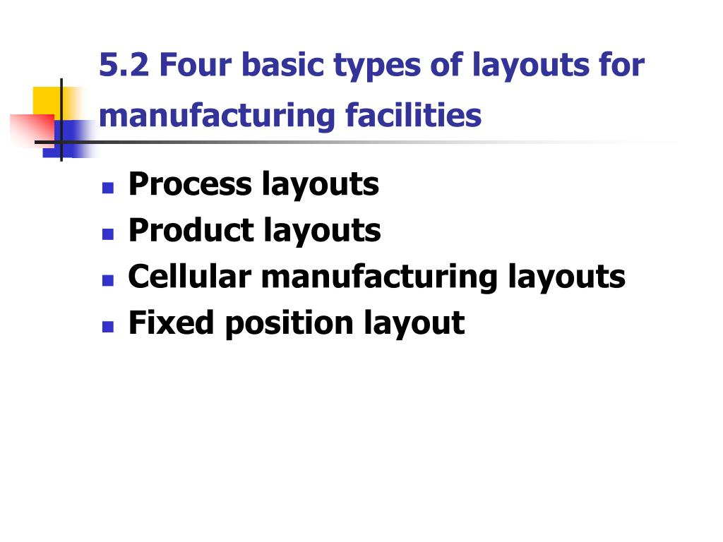 5.2 Four basic types of layouts for manufacturing facilities
