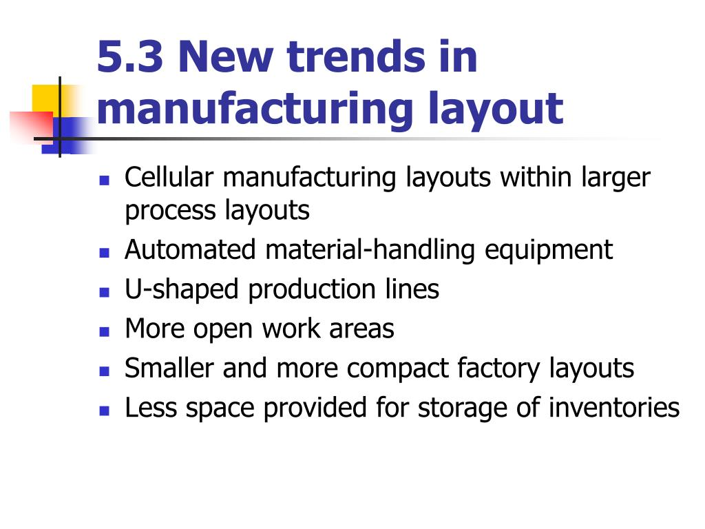 5.3 New trends in manufacturing layout