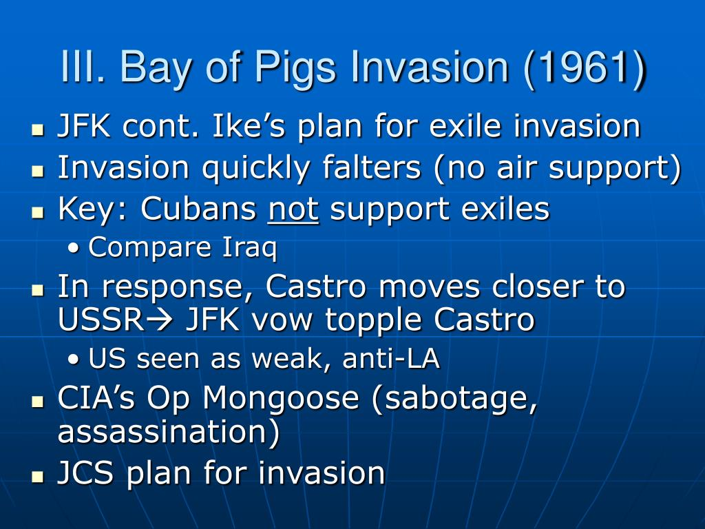 III. Bay of Pigs Invasion (1961)