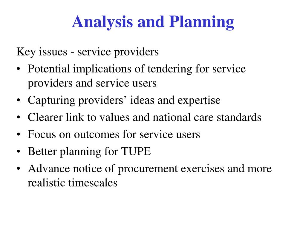 Key issues - service providers