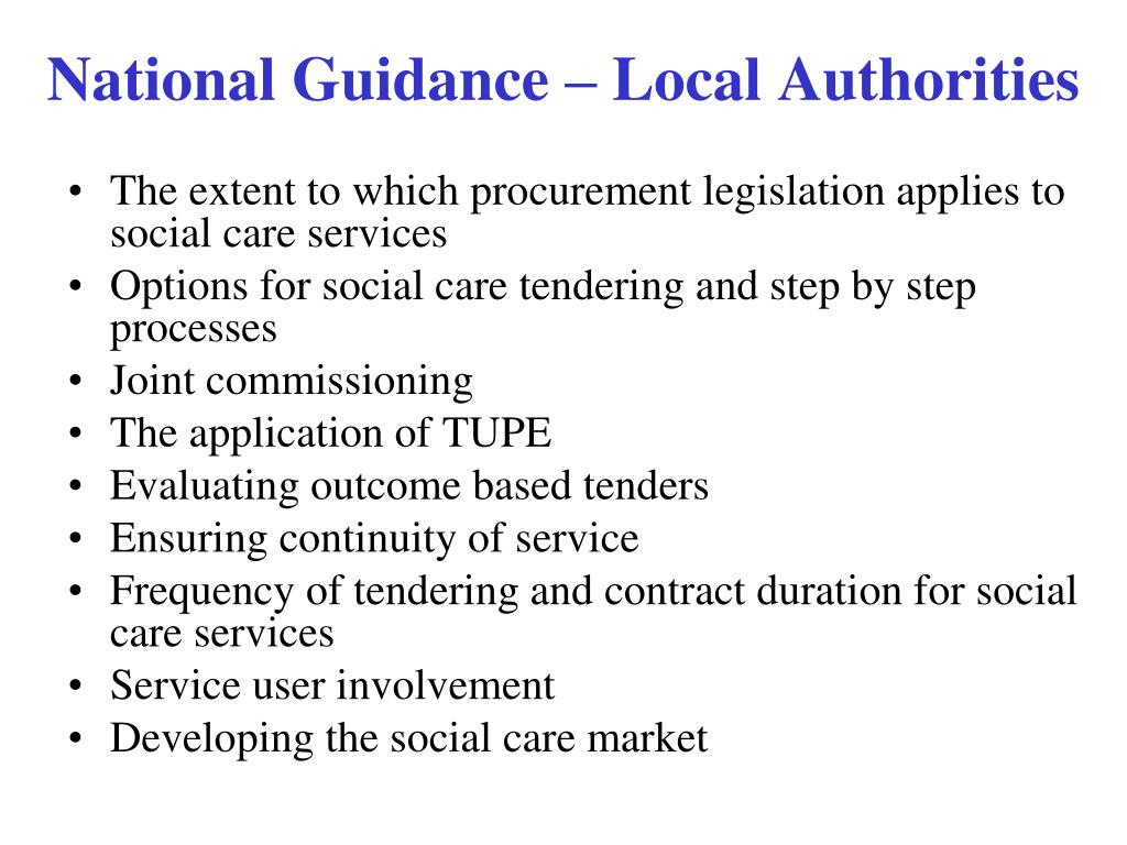 The extent to which procurement legislation applies to social care services