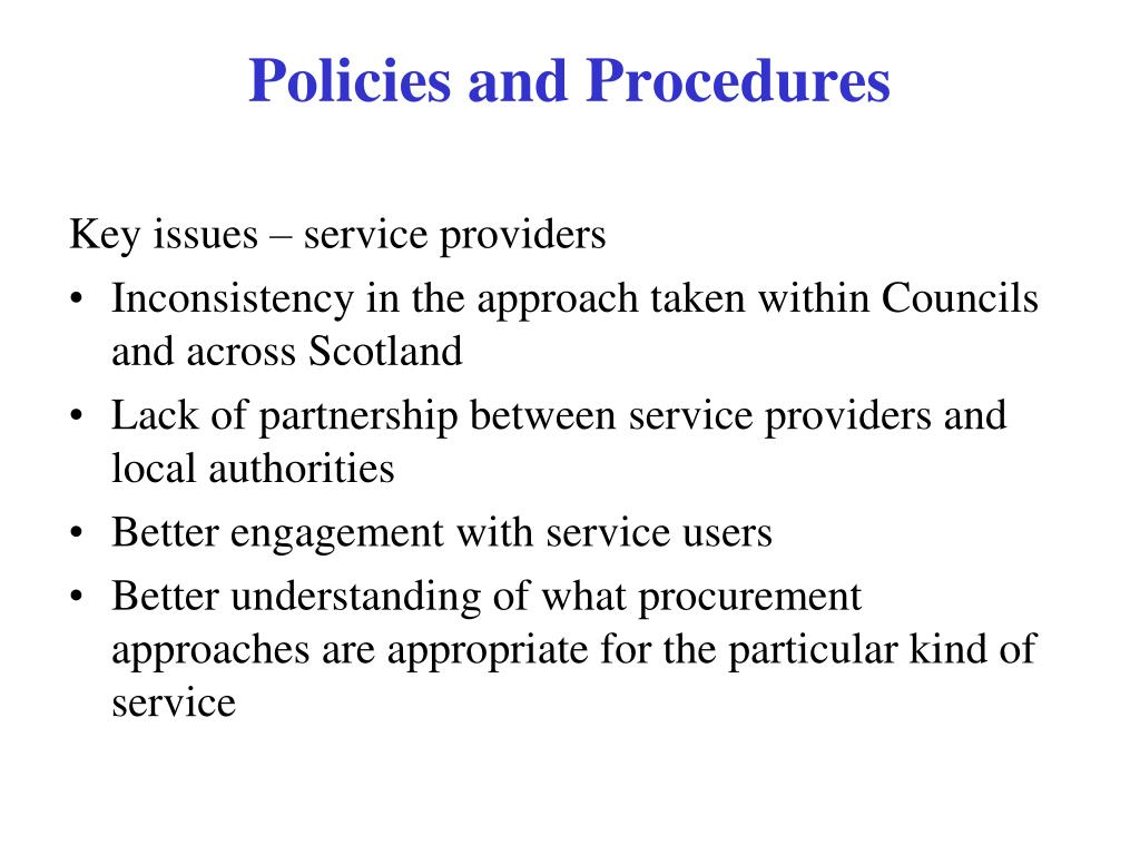 Key issues – service providers
