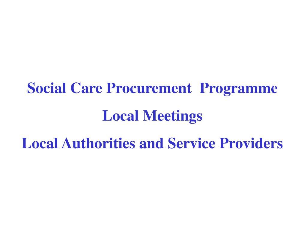Social Care Procurement  Programme