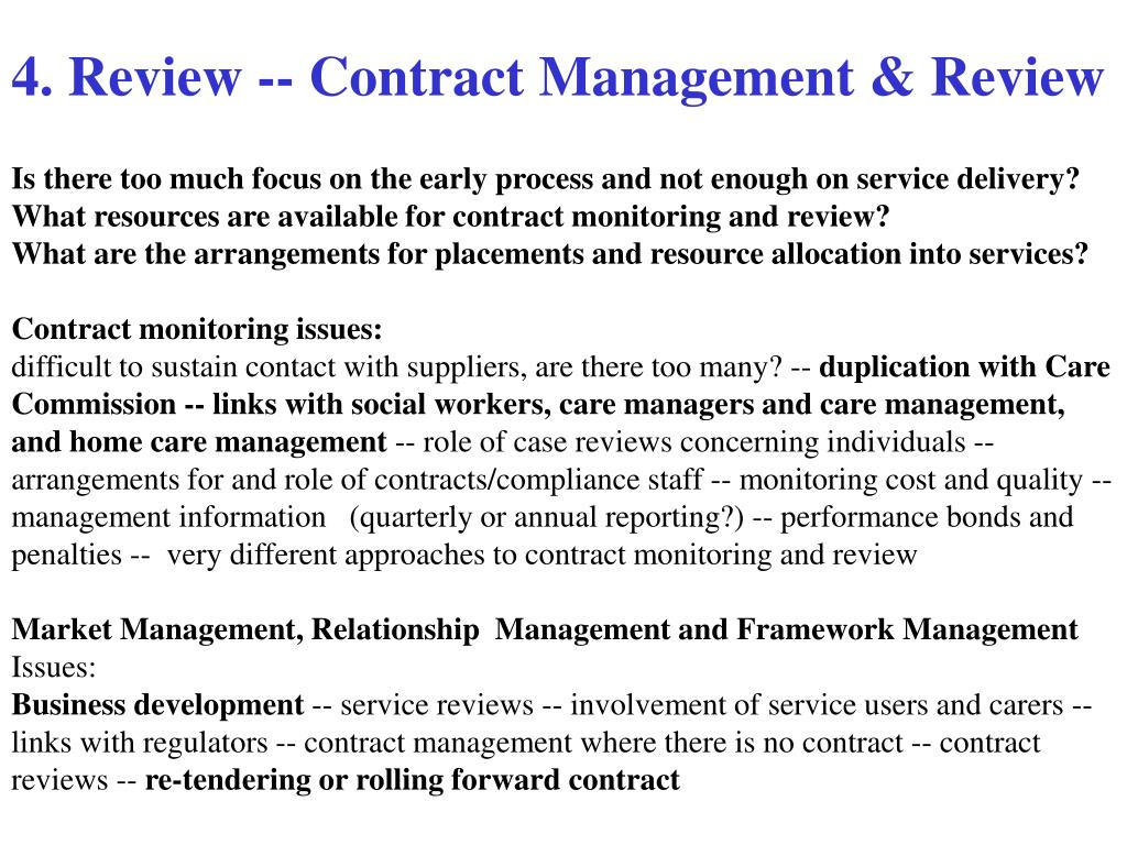 4. Review -- Contract Management & Review