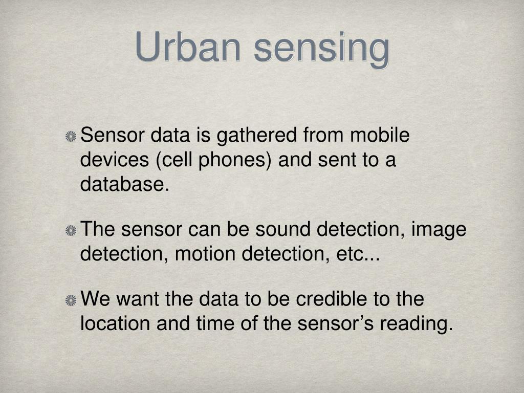 Urban sensing