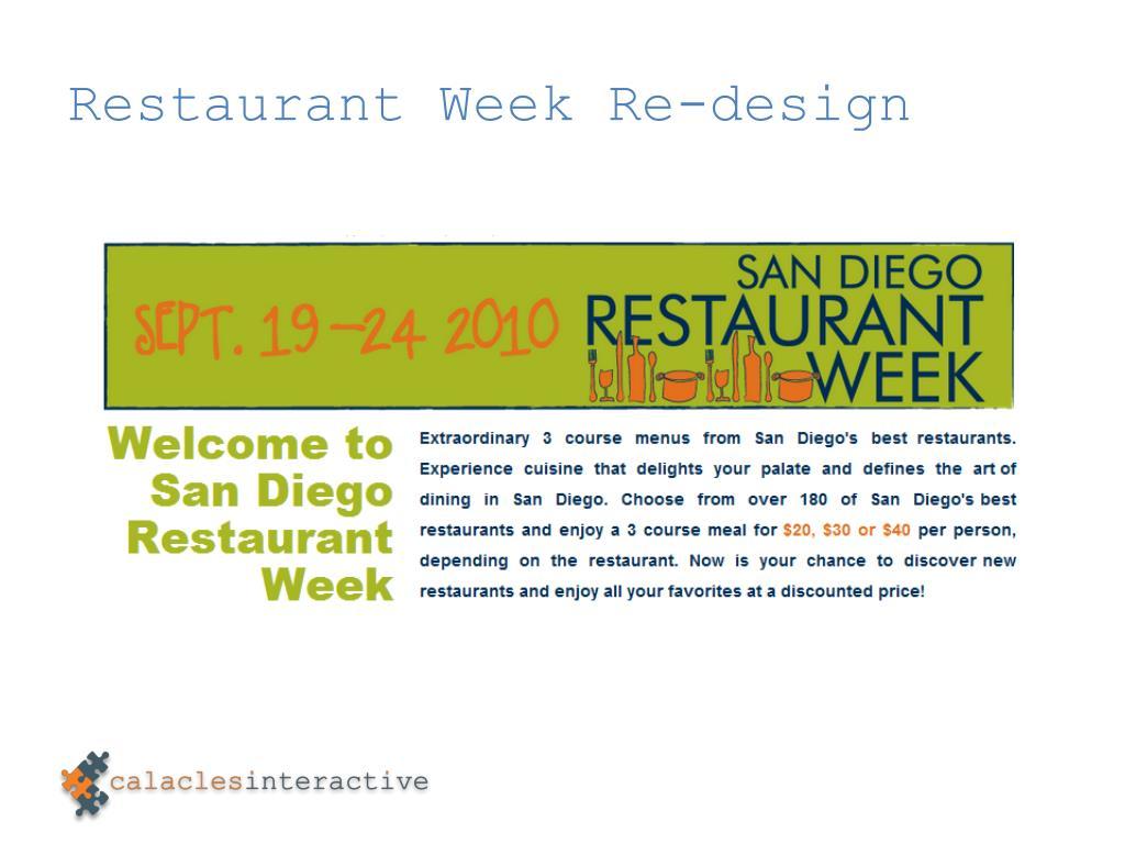 Restaurant Week Re-design