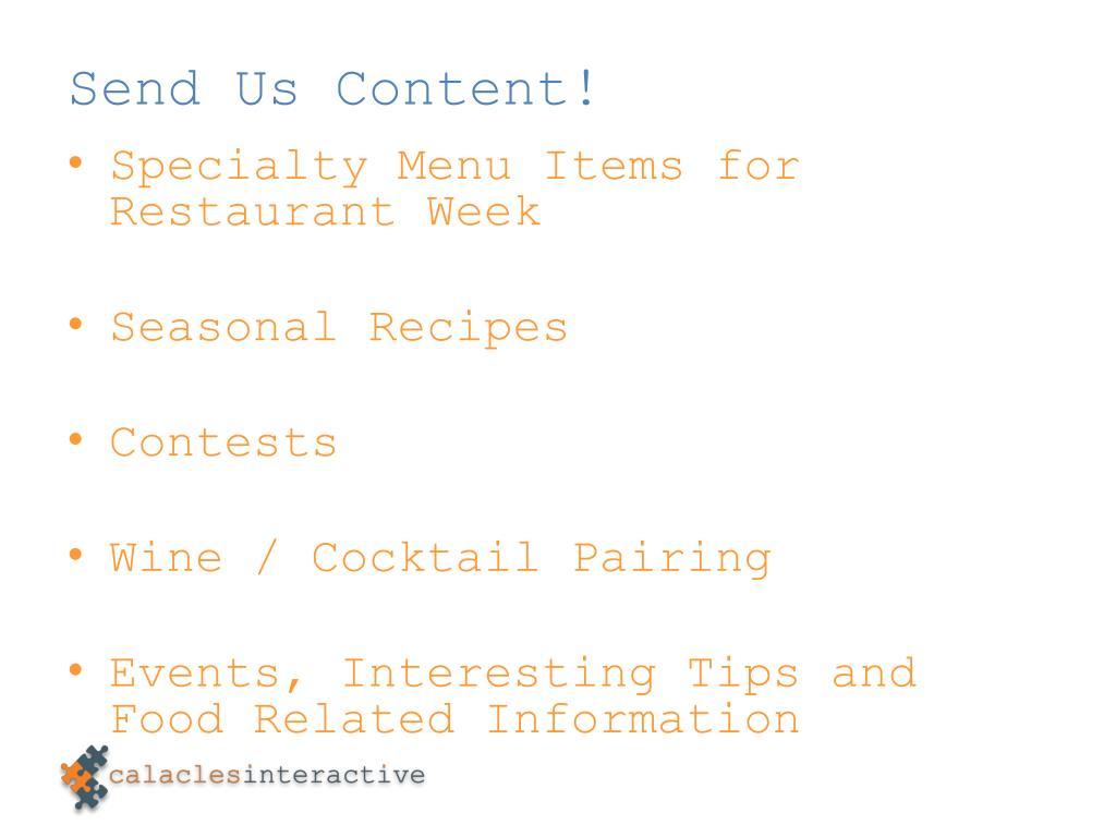 Send Us Content!