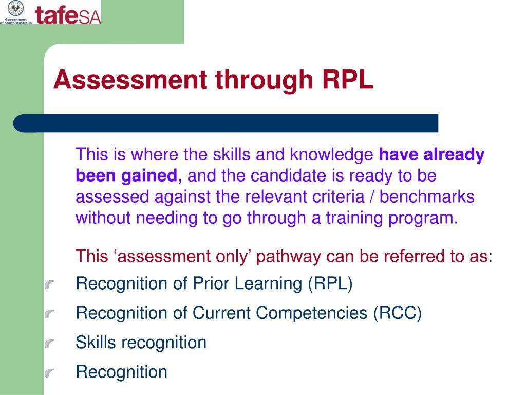 Assessment through RPL