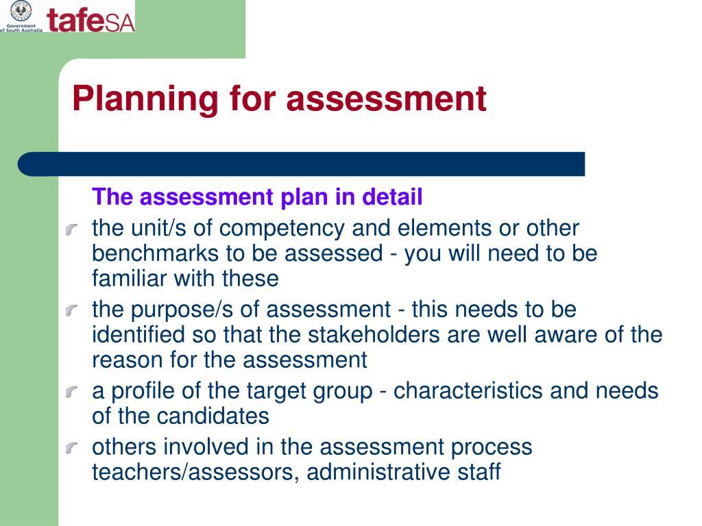 Planning for assessment