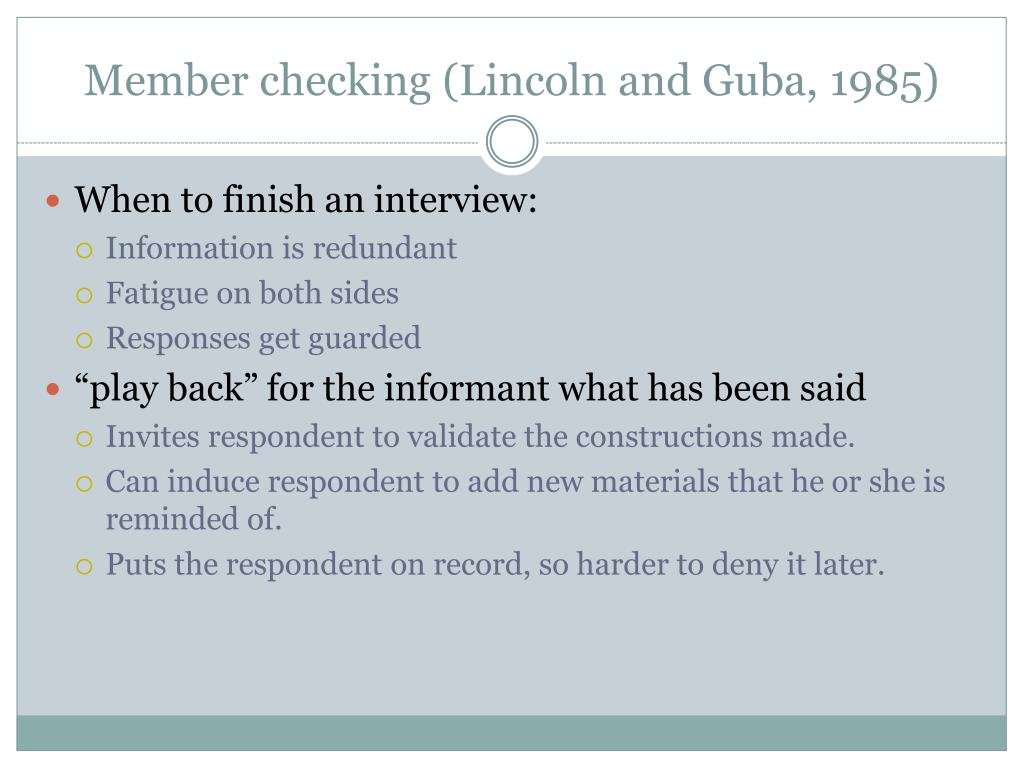 Member checking (Lincoln and Guba, 1985)