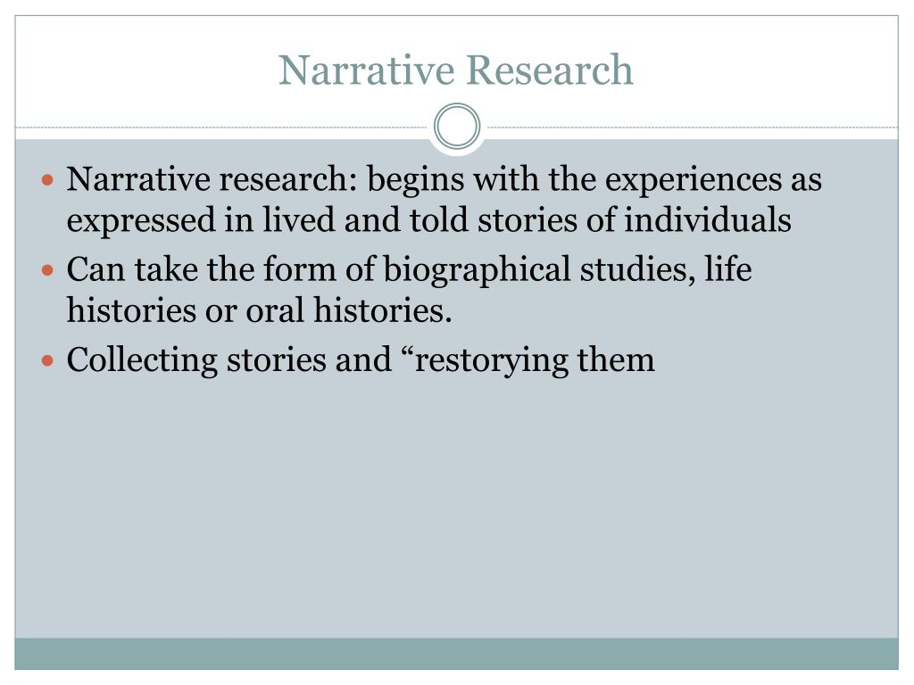 how to write a narrative research question