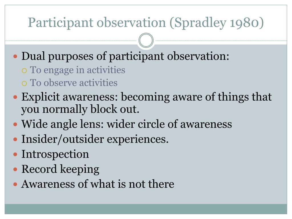 Participant observation (Spradley 1980)