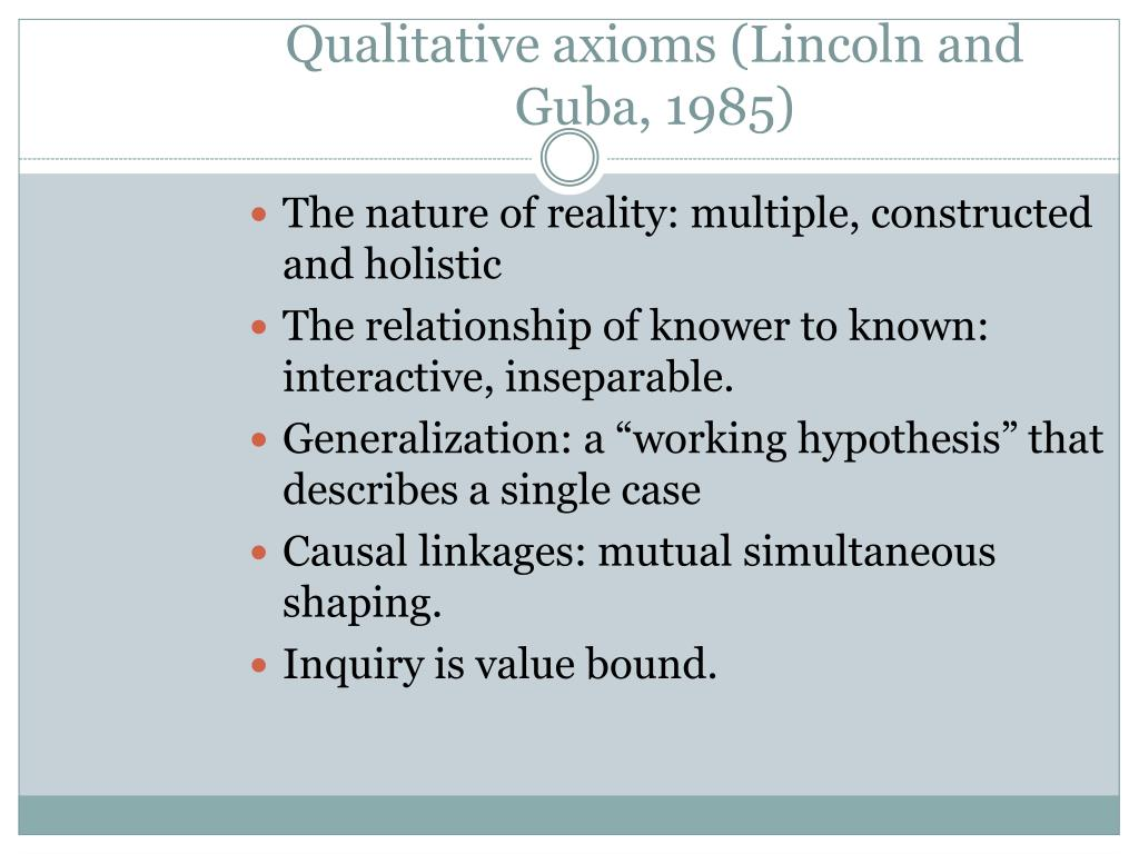 Qualitative axioms (Lincoln and Guba, 1985)