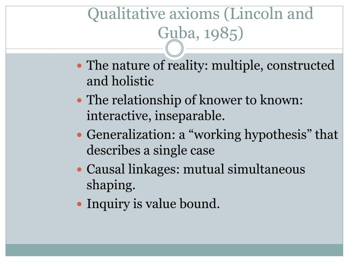 Qualitative axioms lincoln and guba 1985