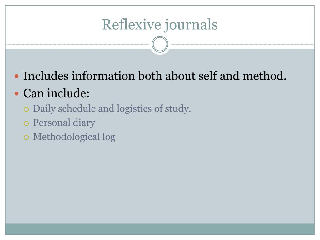 Reflexive journals