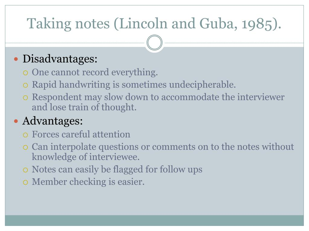 Taking notes (Lincoln and Guba, 1985).