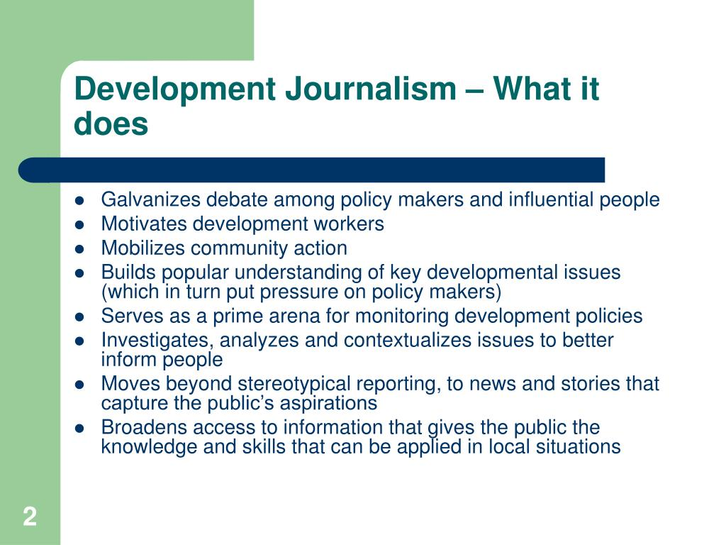 Development Journalism – What it does