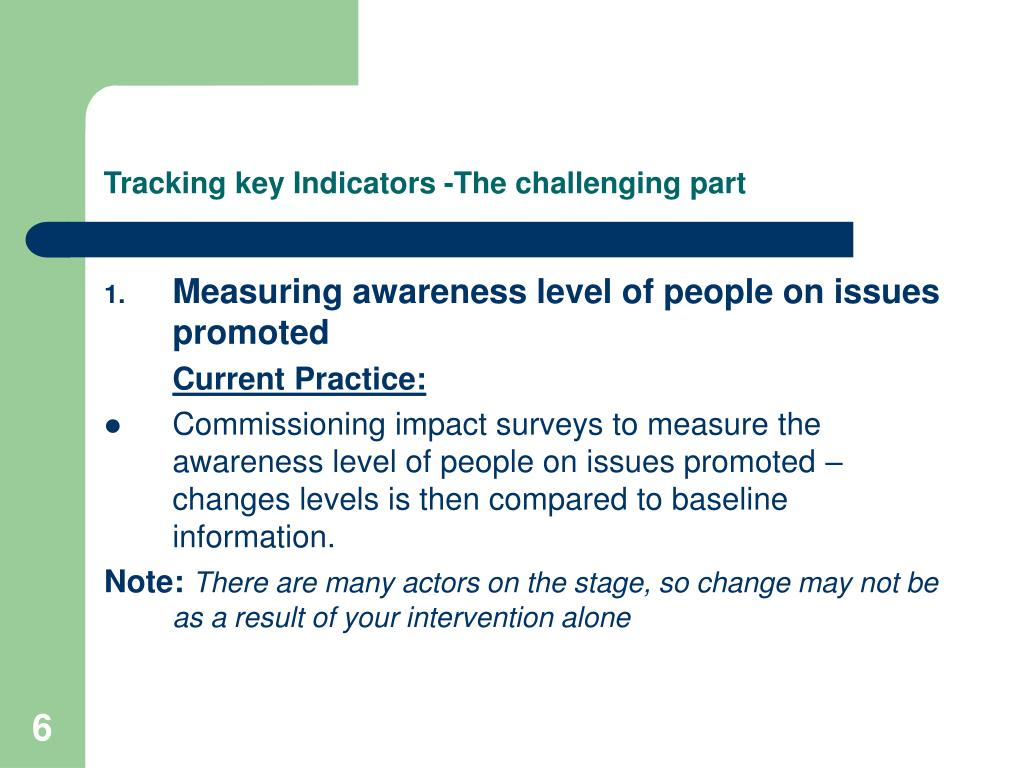 Tracking key Indicators -The challenging part