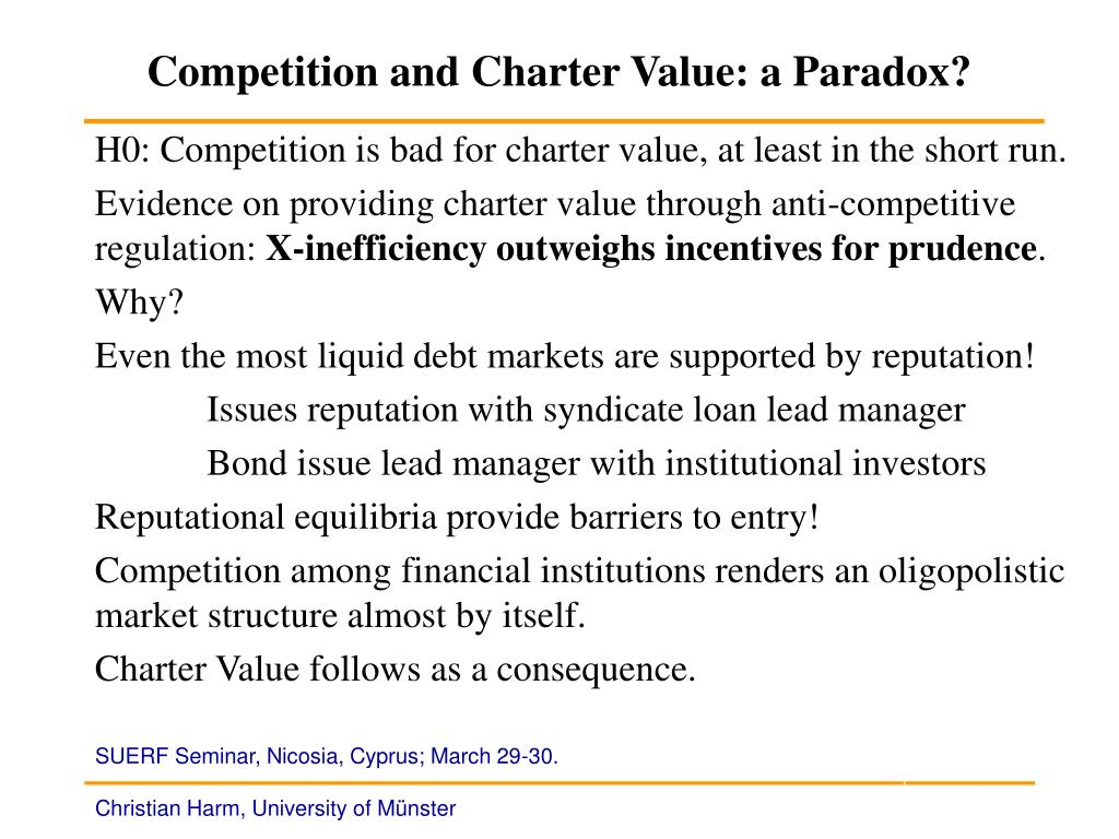 Competition and Charter Value: a Paradox?
