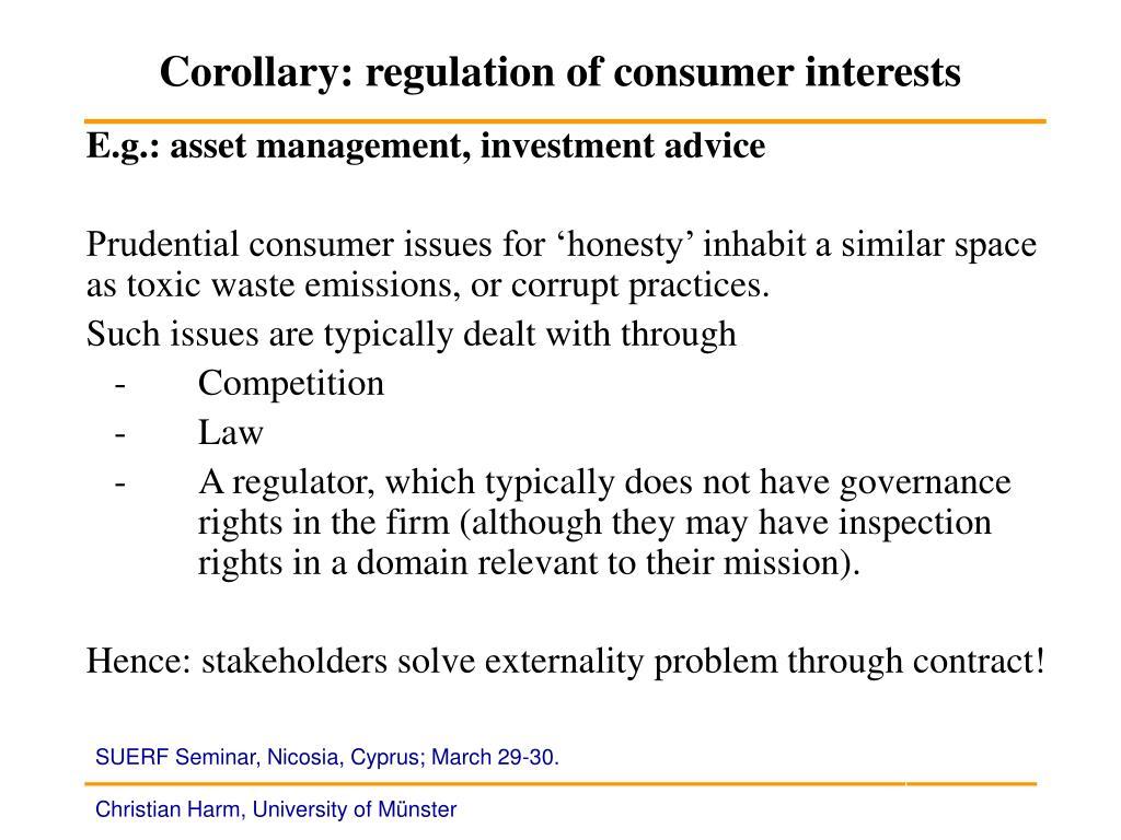 Corollary: regulation of consumer interests