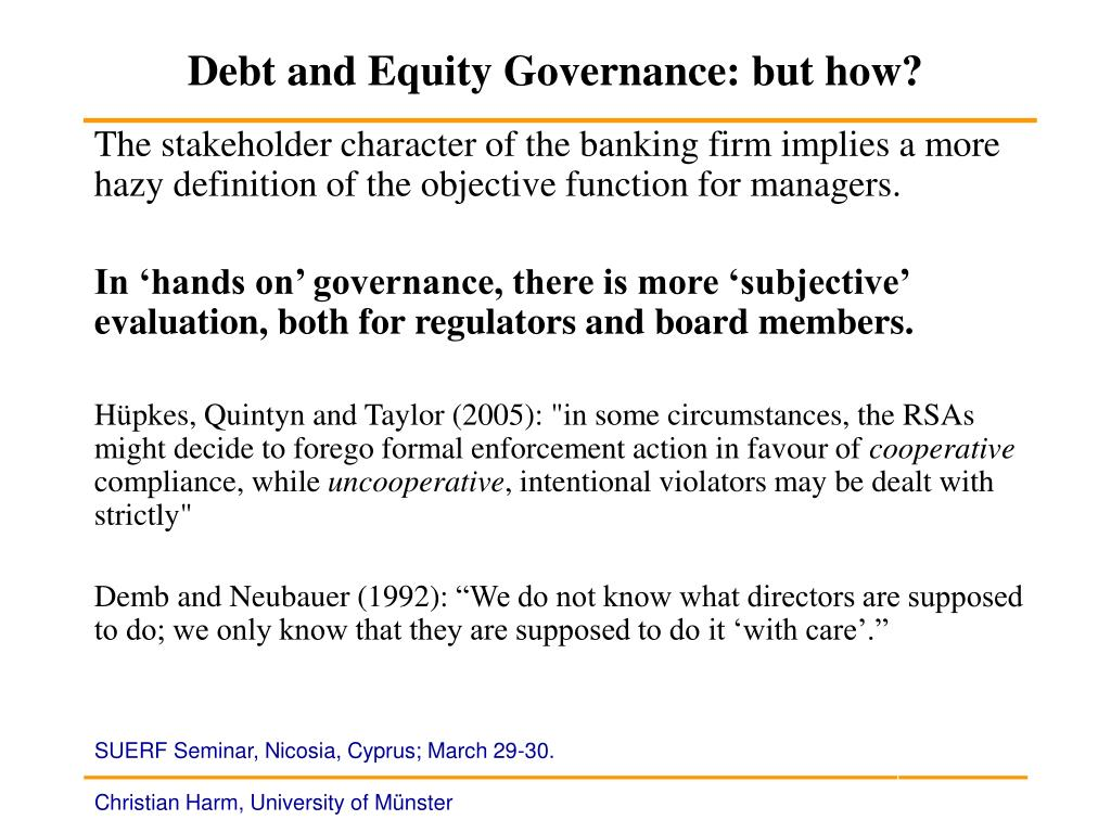 Debt and Equity Governance: but how?