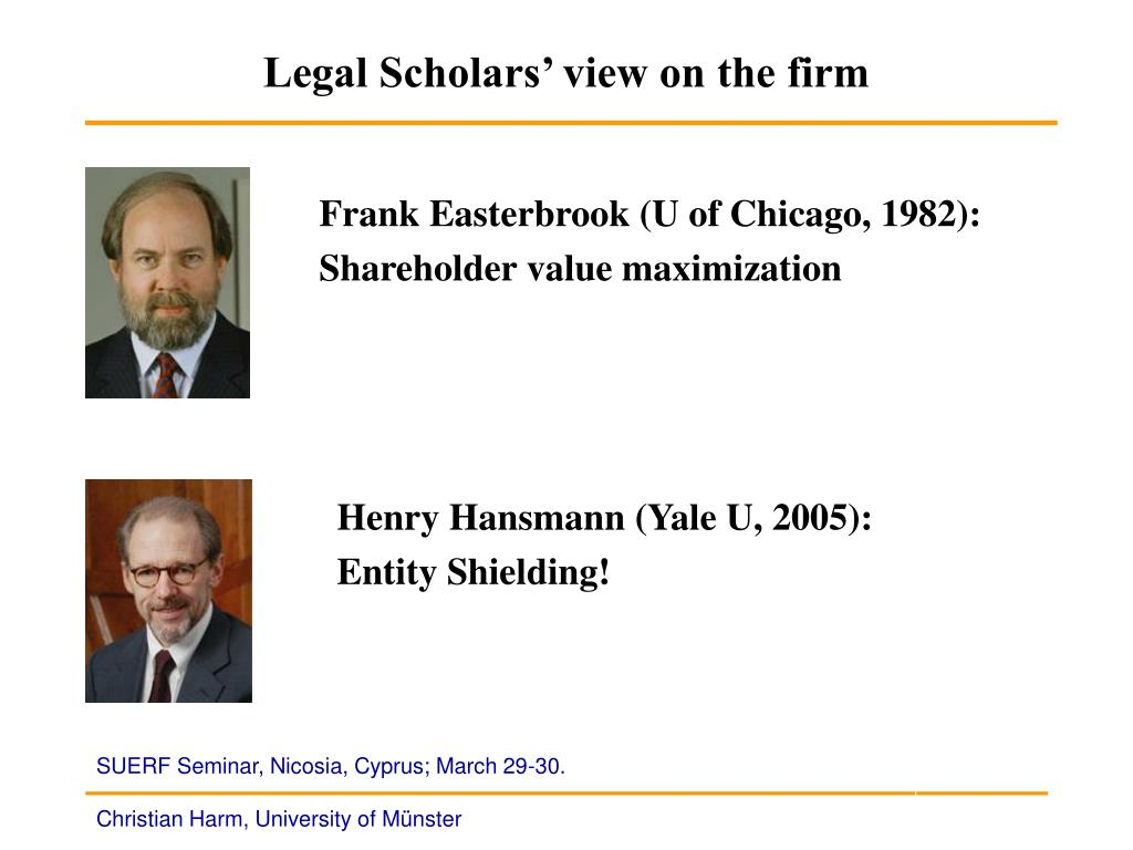Legal Scholars' view on the firm