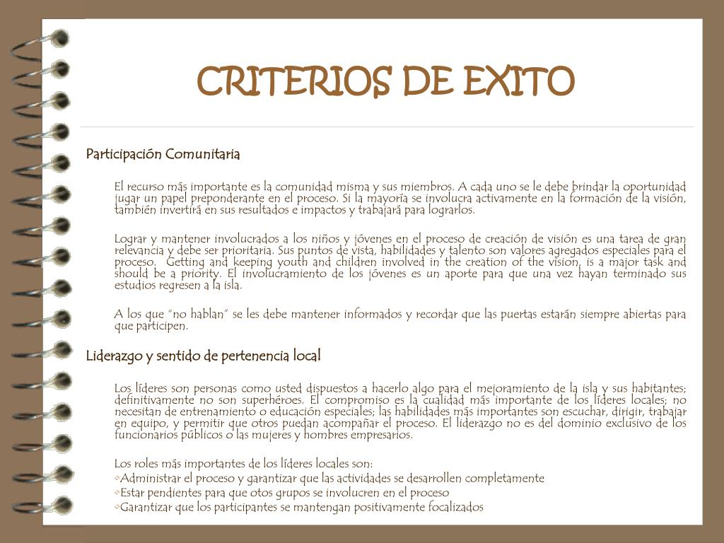 CRITERIOS DE EXITO