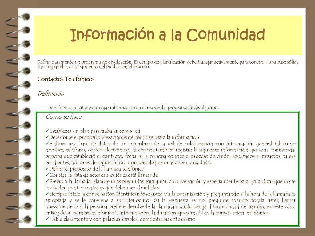 Información a la Comunidad