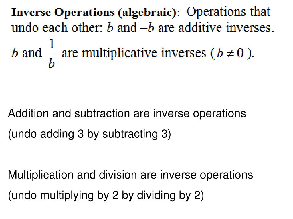 Addition and subtraction are inverse operations