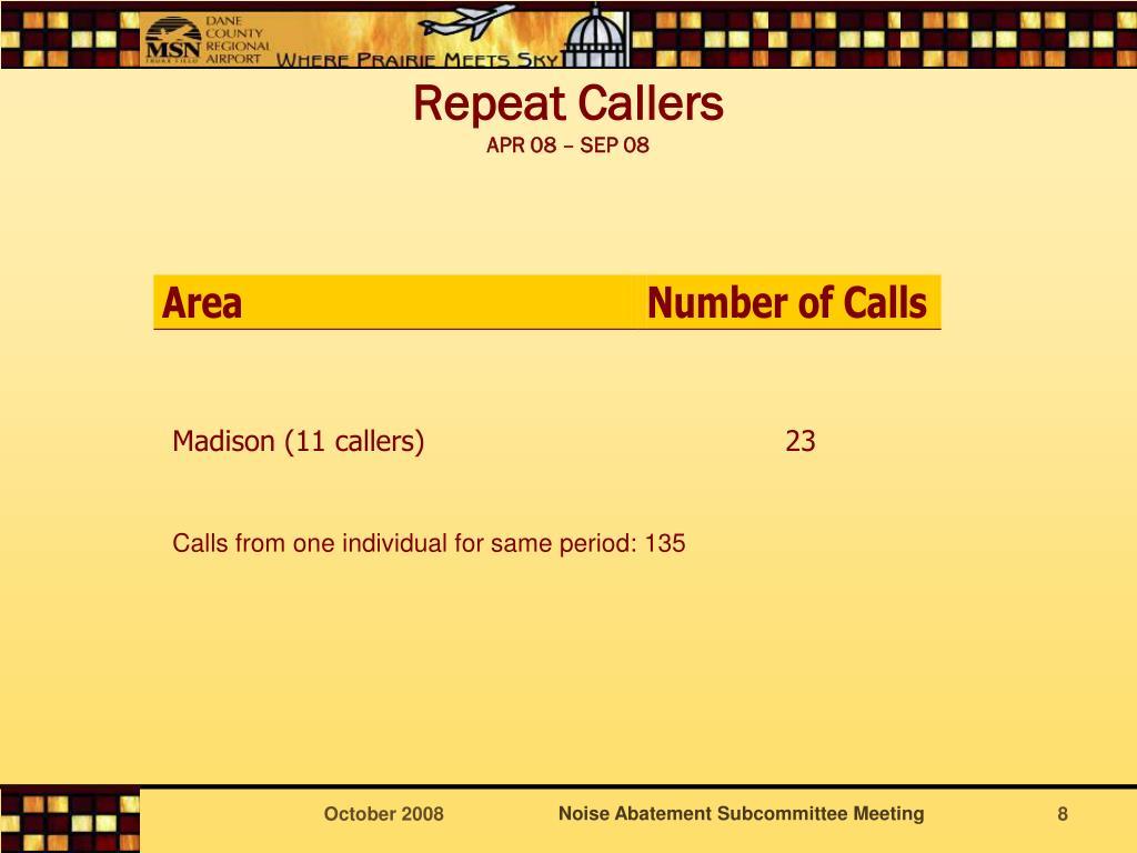 Repeat Callers