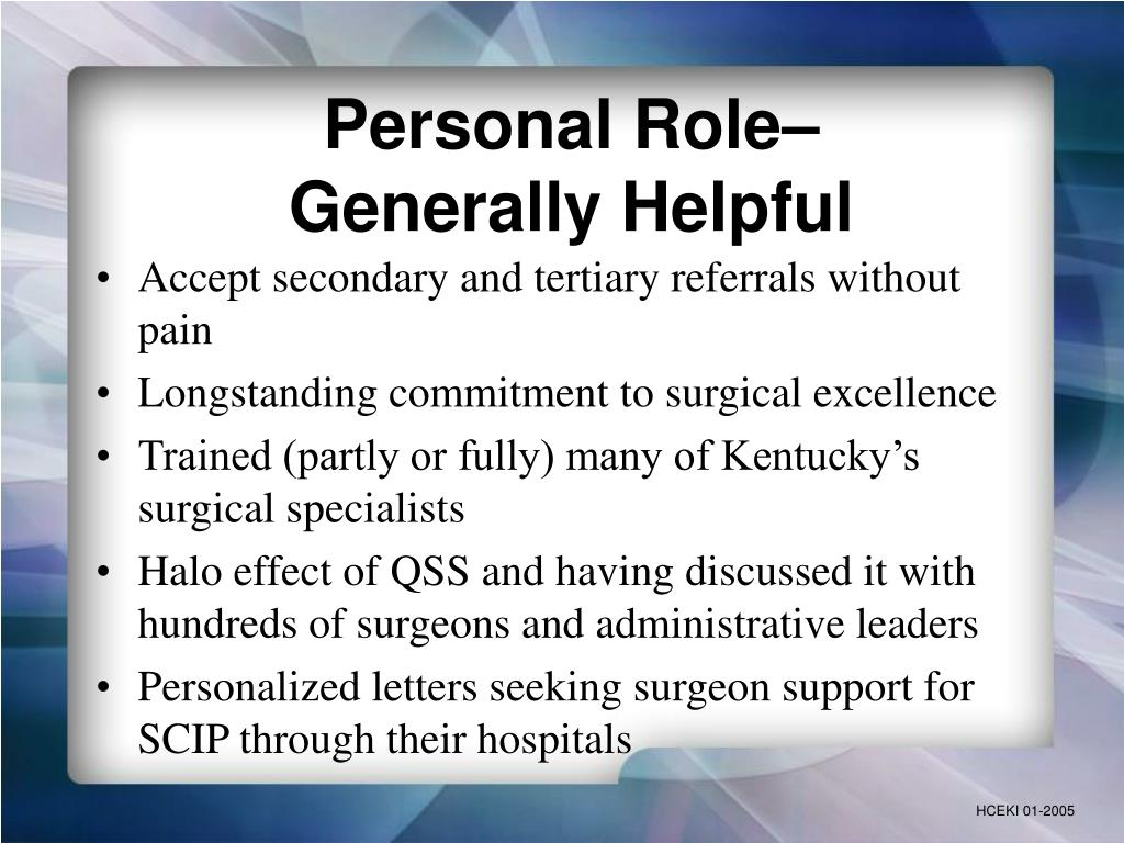 Personal Role–