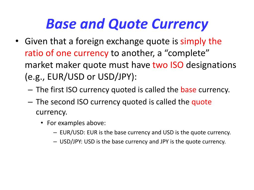 Base and Quote Currency