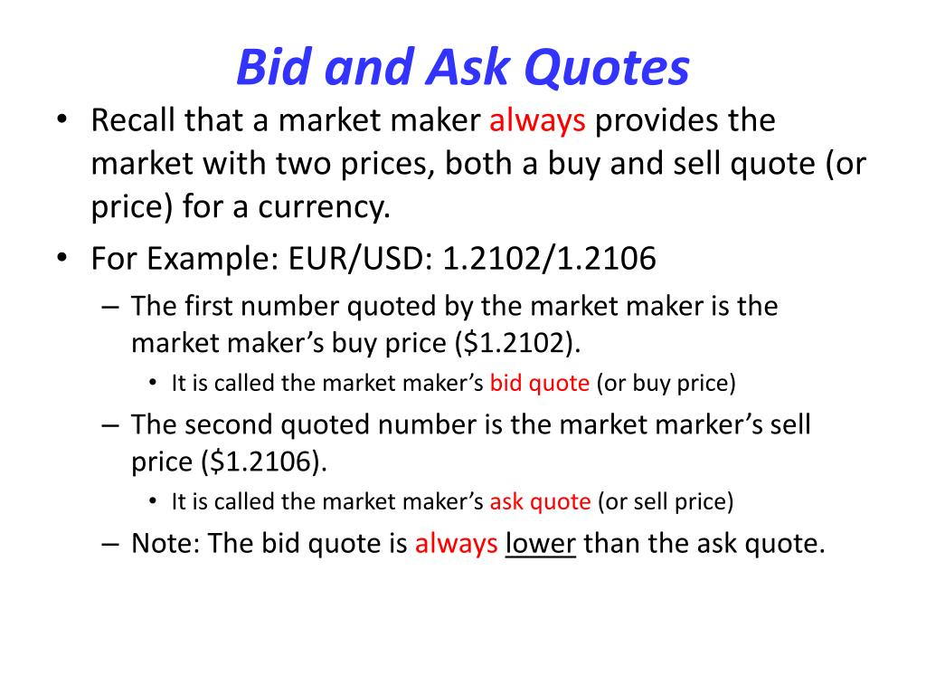 Bid and Ask Quotes