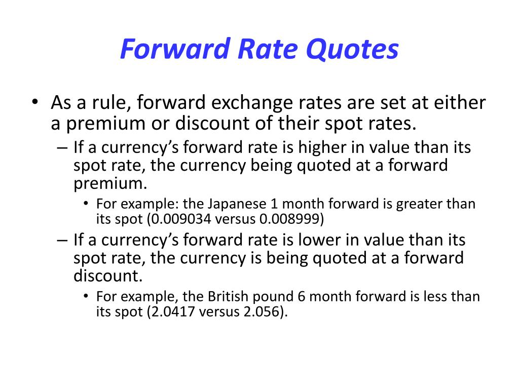 Forward Rate Quotes