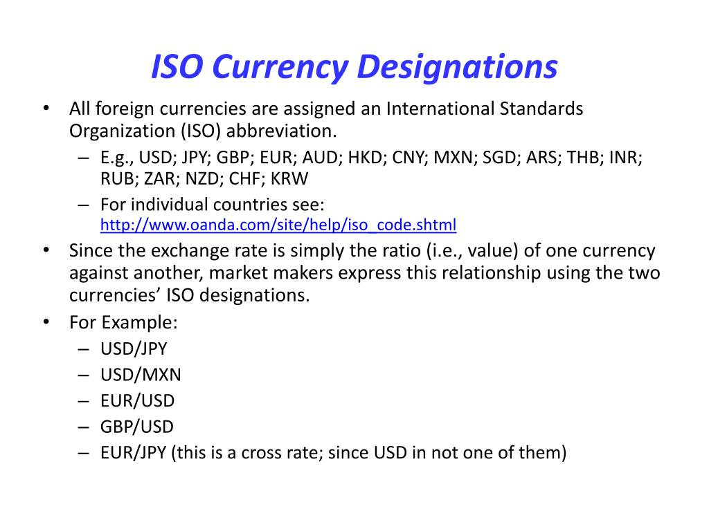 ISO Currency Designations
