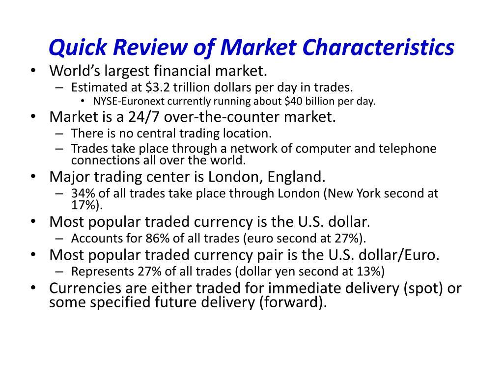 Quick Review of Market Characteristics
