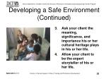 developing a safe environment continued