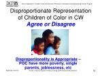 disproportionate representation of children of color in cw agree or disagree
